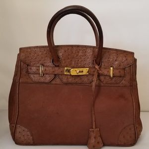 Genuine Ostrich Leather and Suede Handmade Bag